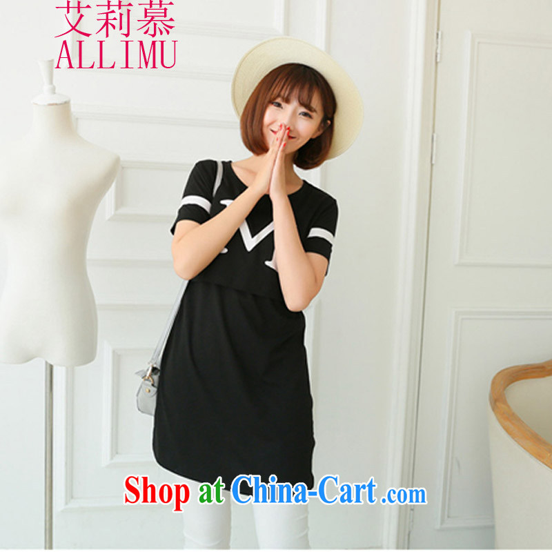Allie's summer new stylish, breast-feeding and clothing long nursing dresses C R 3029 3398 black M