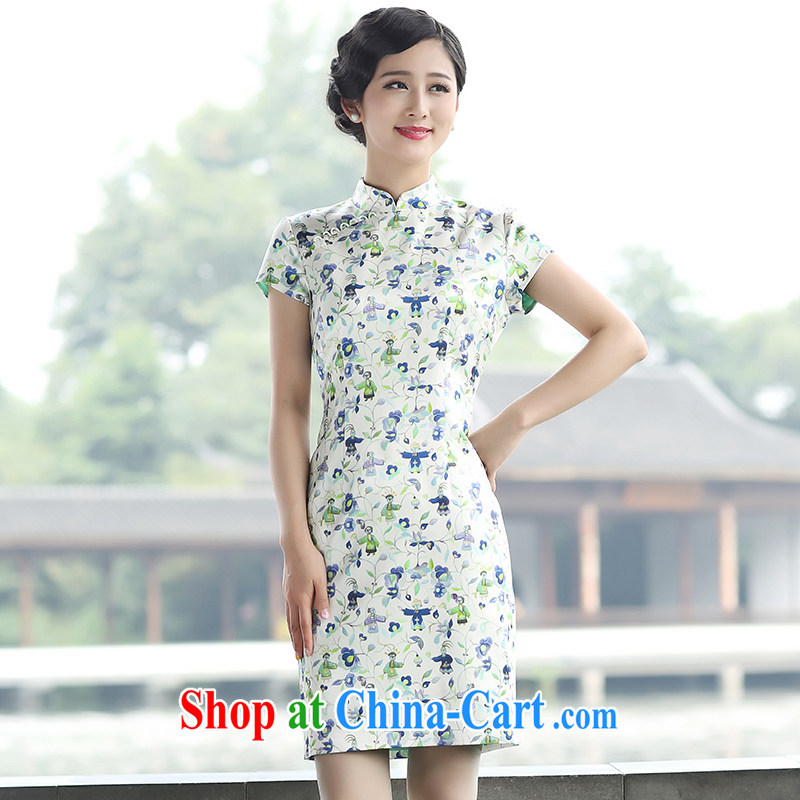 The Cayman 2015 new stylish stamp outfit sauna beauty silk elegant qipao, first of all, Chai XL