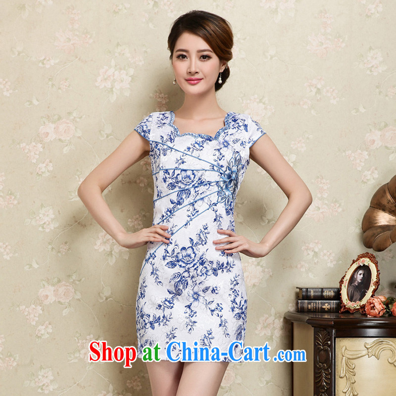 Mrs M land 2015 summer new trendy elegance beauty cheongsam dress blue XXL