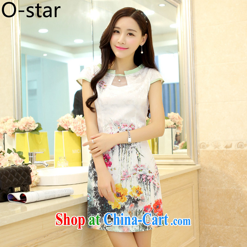 O - Star 2015 female new Ethnic Wind Chinese Chinese stamp ink retro beauty style graphics thin package and cheongsam dress water color XL