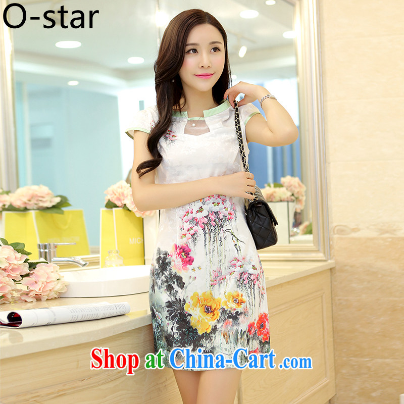 O - Star 2015 female new Ethnic Wind Chinese Chinese stamp ink retro beauty style graphics thin package and cheongsam dress water color聽XL, O - Star, shopping on the Internet