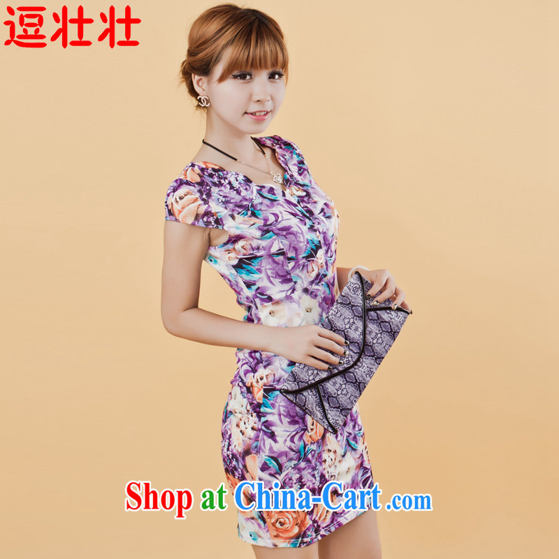 and Chuang Chuang 2015 summer milk, stamp pack and dress sense of the waist wavy edge for retro dresses 9620 Bauhinia XXXL
