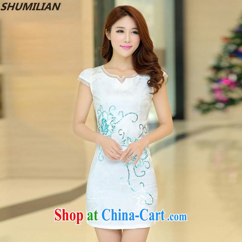 Mrs M land 2015 summer new trendy elegance beauty cheongsam dress white XL