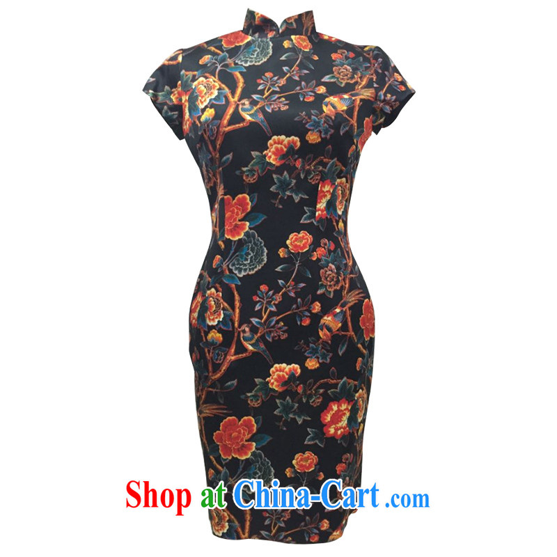 The Cayman 2015 new stylish sauna Silk Cheongsam exquisite stamp duty cultivating classical national cheongsam Magpies Yukio Hatoyama smile dance XL