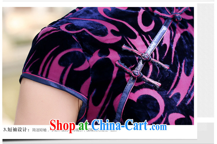 Jin Bai Lai summer improved cheongsam dress dresses classic high-end gold velour short-sleeved Tang Women's clothes dresses wedding dress L pictures, price, brand platters! Elections are good character, the national distribution, so why buy now enjoy more preferential! Health