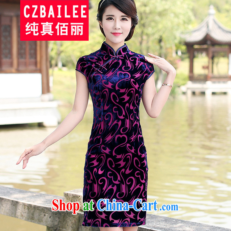 Jin Bai Lai summer improved cheongsam dress dresses classic high-end gold velour short-sleeved Tang Women's clothes dresses wedding dress L