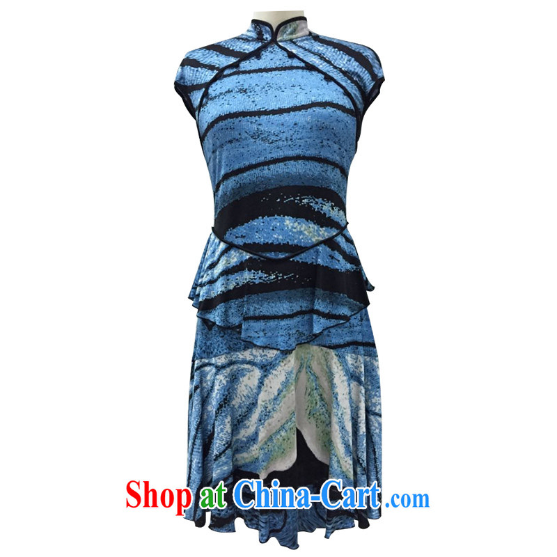 The Cayman 2015 new stylish robes sauna beauty Silk Cheongsam elegant blue butterfly dress L