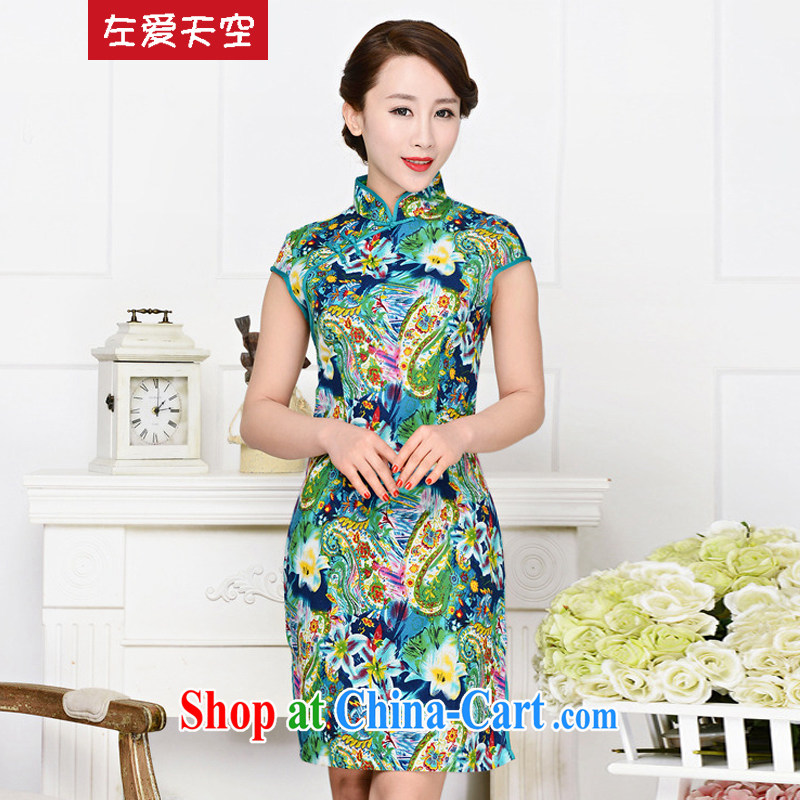 The left love sky 2015 cheongsam dress stamp-'s Phoenix stamp Bong-robe short-sleeved beauty graphics thin summer temperament female new green package for green floral XXL