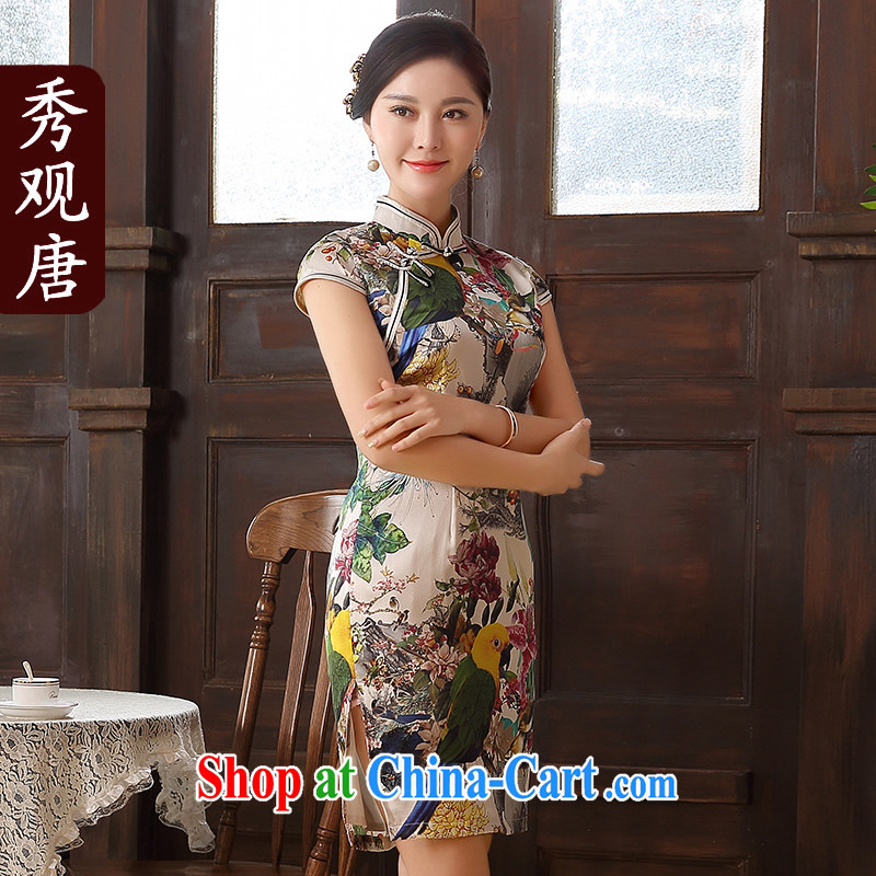 The CYD HO Kwun Tong' Hong Kong Lam 2015 new dresses summer sauna silk dress retro improved Silk Cheongsam dress suit XXL