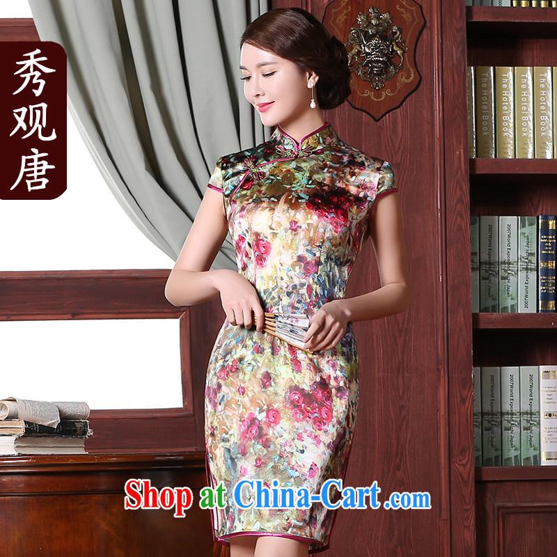 The CYD HO Kwun Tong' obsession with Silk Cheongsam summer 2015 New floral stamp cheongsam dress QD 5301 fancy XXL