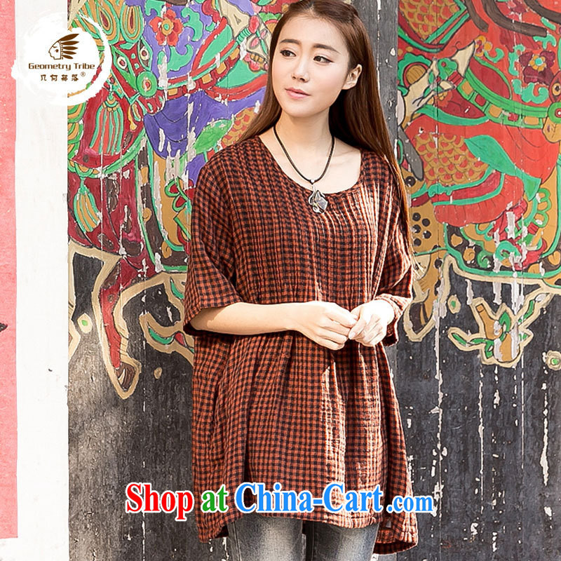 hamilton 2015 summer Women's clothes new literary and artistic cotton Ma maximum number 7 sub-sleeved checkered shirt checkered shirt T 85,035 coffee are code