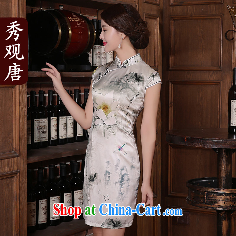 The CYD HO Kwun Tong' candidates, I would be grateful if you could summer 2015 new retro Silk Cheongsam sauna Silk Dresses QD 5406 fancy M