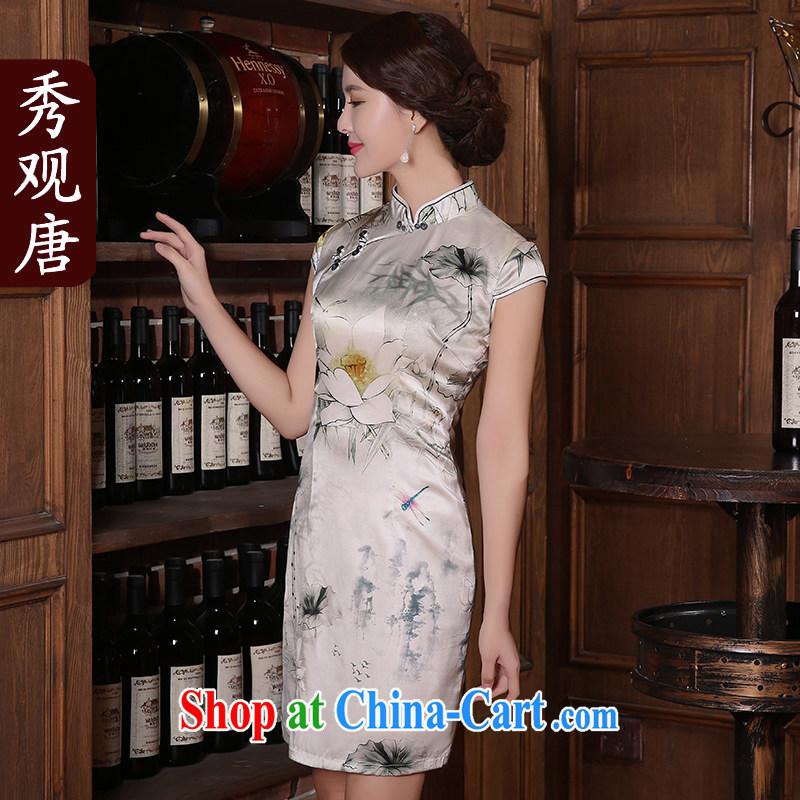 The CYD HO Kwun Tong' candidates, I would be grateful if you could summer 2015 new retro Silk Cheongsam sauna Silk Dresses QD 5406 fancy M