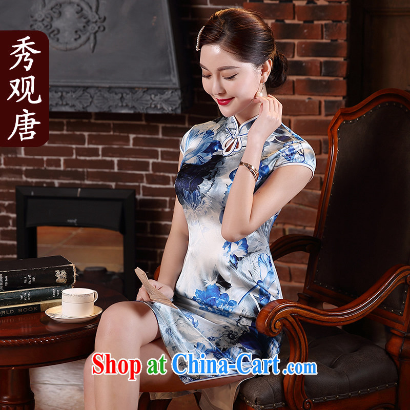 The CYD HO Kwun Tong' blue welcomes summer 2015 New Silk Cheongsam retro sauna silk dress dresses QD 5143 blue-and-white XL
