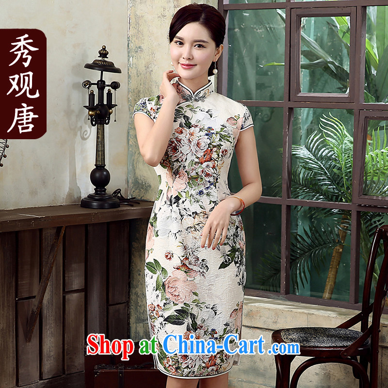 The CYD HO Kwun Tong' Ying spent summer 2015 new retro outfit spent manually buckle long cheongsam dress QD 5307 fancy XL