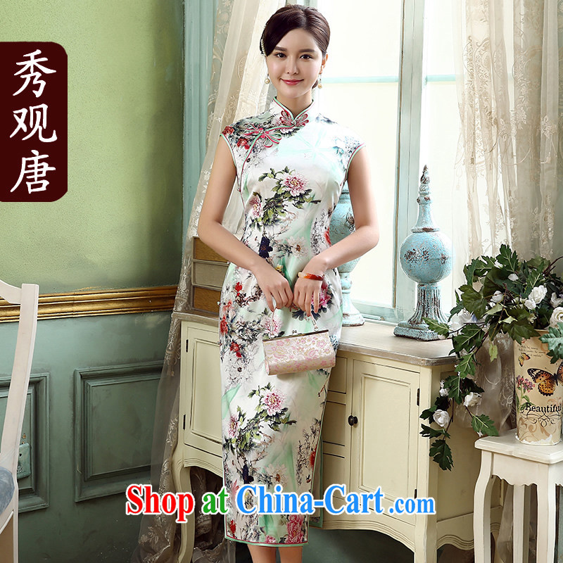 The CYD HO Kwun Tong' flower of summer 2015 long Silk Cheongsam sauna Silk Cheongsam dress retro dress skirt QD 5317 fancy M