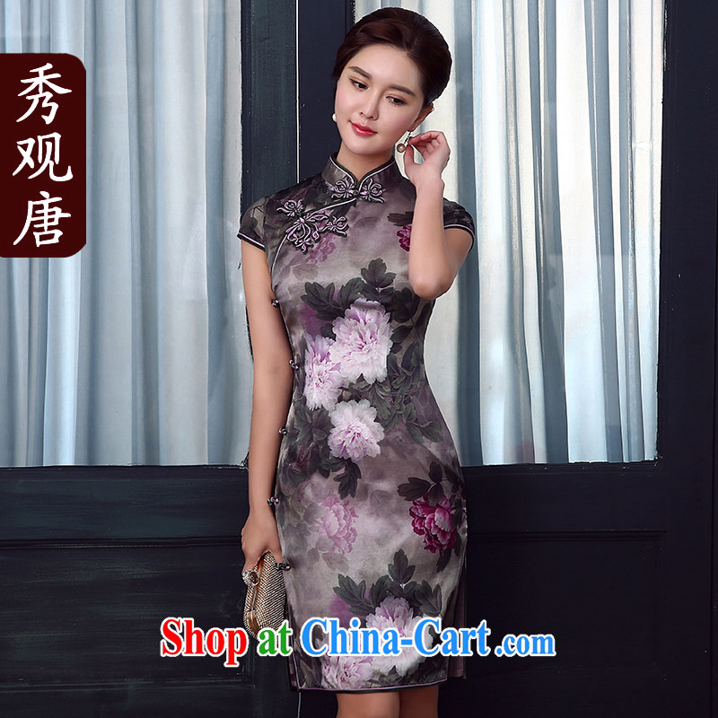 The CYD HO Kwun Tong' take Chow upscale Silk Cheongsam summer 2015 new sauna silk retro dresses skirts QD 5335 fancy XXL