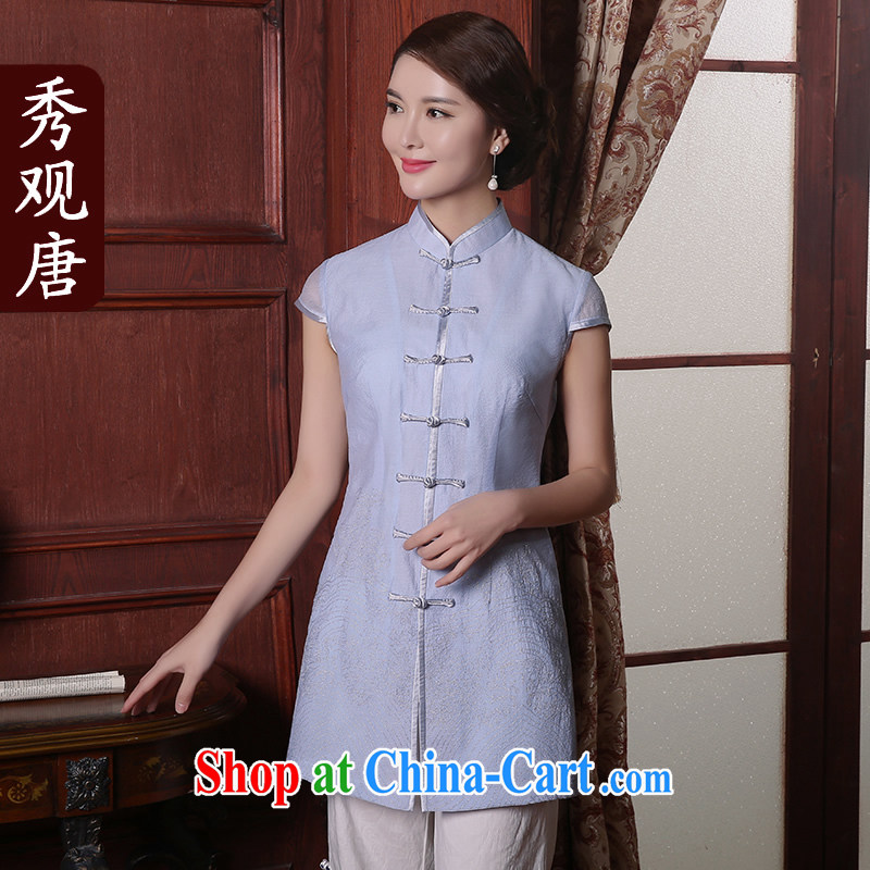 The CYD HO Kwun Tong' light Ying summer 2015, Ms. Tang with Chinese improved temperament female cheongsam shirt TD 5408 light blue XXL