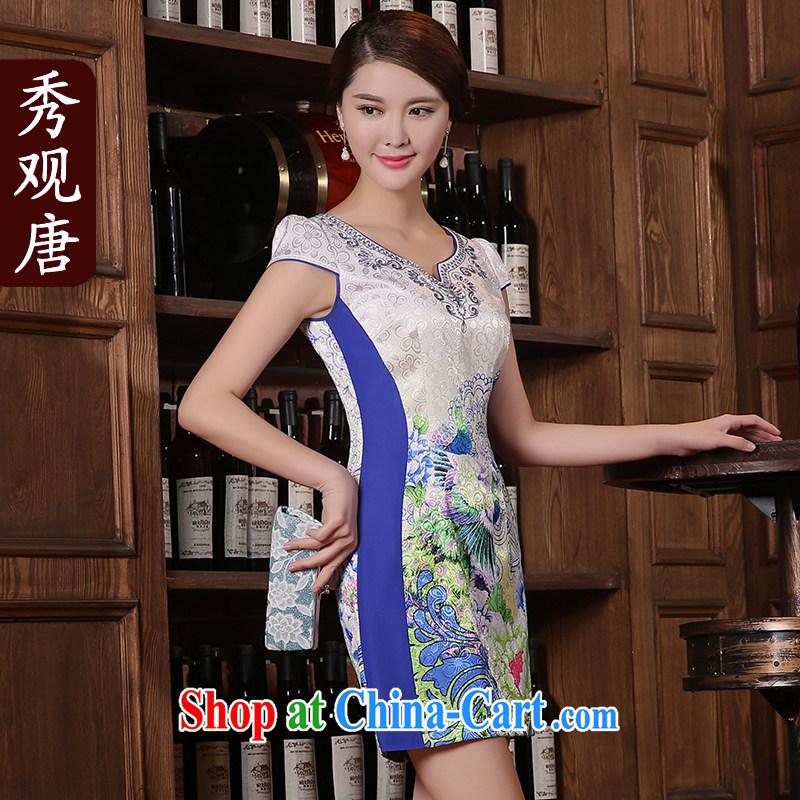 The CYD HO Kwun Tong' long 2015 summer new cheongsam dress improved stylish retro stamp dresses KD 5405 fancy XXL