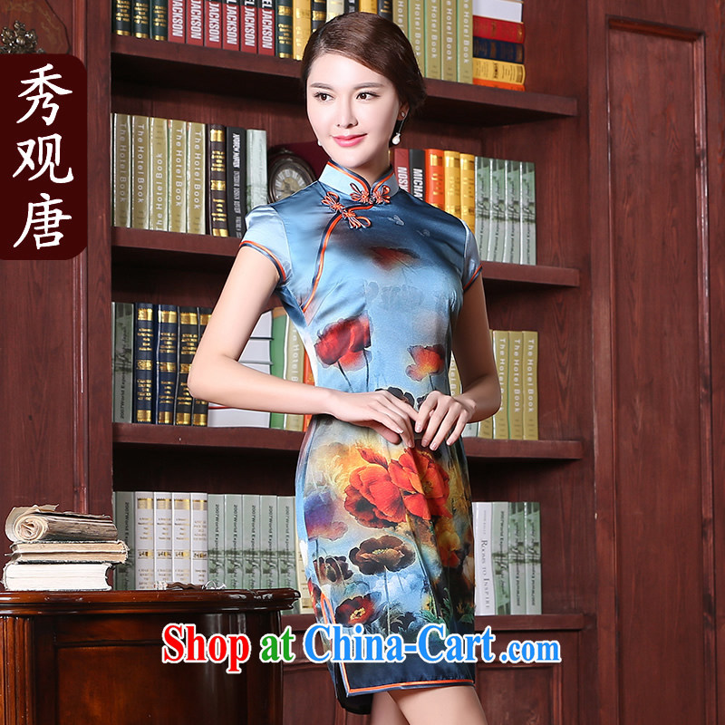 The CYD HO Kwun Tong' love Hyatt Silk Cheongsam summer 2015 new improved stylish retro cheongsam dress QD 5402 fancy XXXL