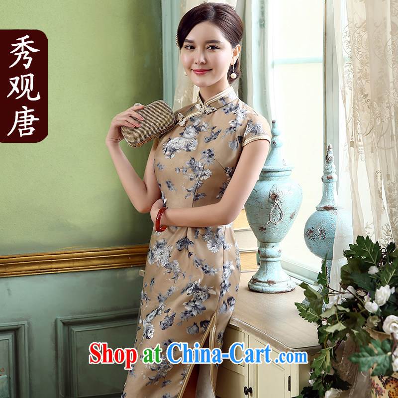 The CYD HO Kwun Tong' magic of summer 2015 new lady dresses, long retro improved cheongsam QD 5318 brown XL