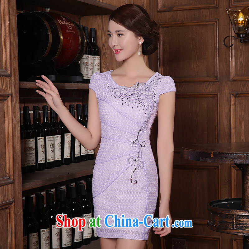 The CYD HO Kwun Tong' I would be grateful if you could avoid dresses summer 2015 new cheongsam dress improved stylish sexy female dresses lilac XXL