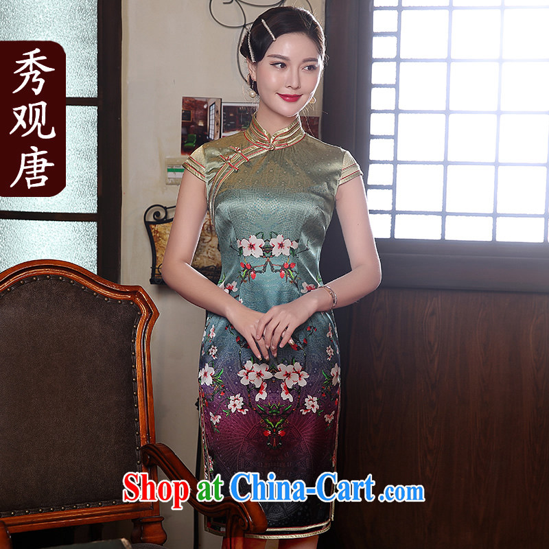 The CYD HO Kwun Tong' Mei Hong Kong Summer 2015 New Silk Cheongsam retro stamp sauna Silk Dresses QD 5144 fancy L