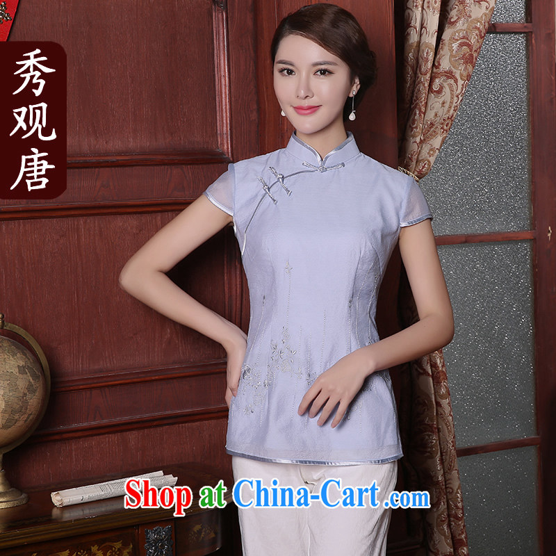 The CYD HO Kwun Tong' Tai Sin Hyatt 2015 summer new Chinese T-shirt Chinese improved Tang Women's clothes light blue XXL