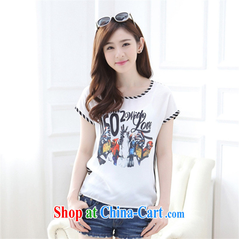 Black butterfly 2015 summer new larger stamp short-sleeved snow woven shirts female T shirt graphics thin female Korean 8865 picture color XXL