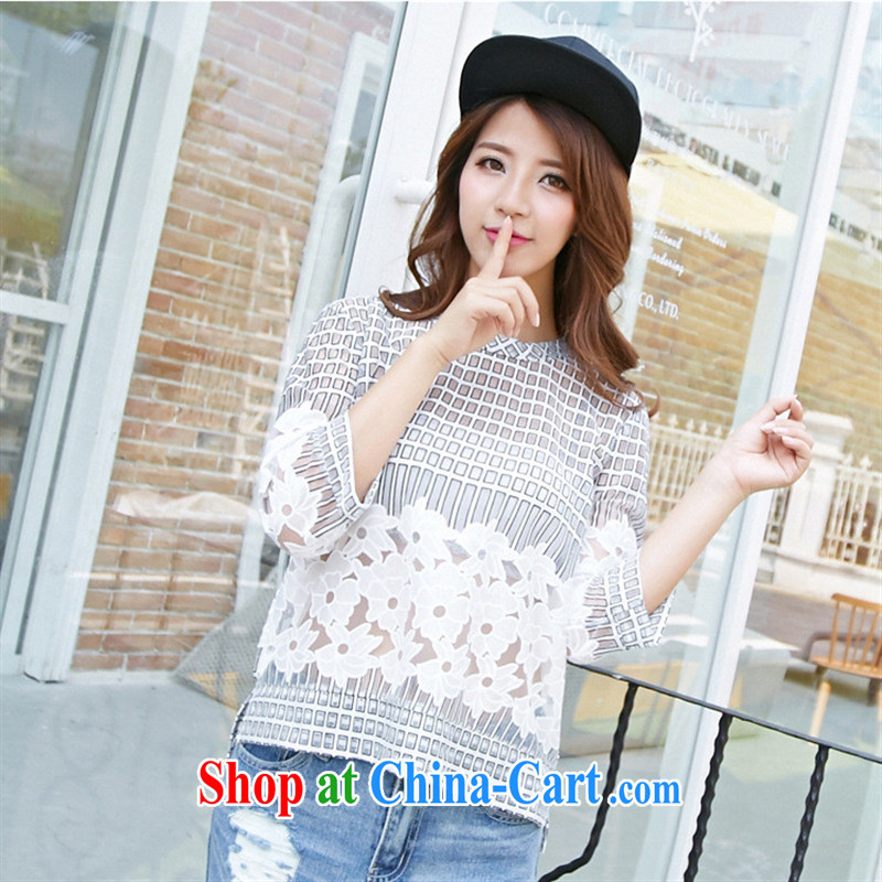Black butterfly 2015 summer new stylish 100 ground breathable personality 5 sub-sleeve T-shirt 1530 white L