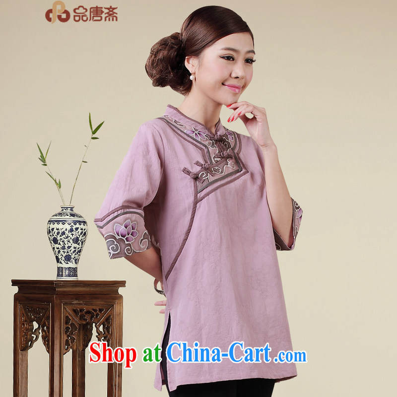 Mr Henry Tang, Id al-Fitr Chinese summer cotton the female Chinese Antique Tea Service cheongsam shirt China wind improved Han-light purple XXL