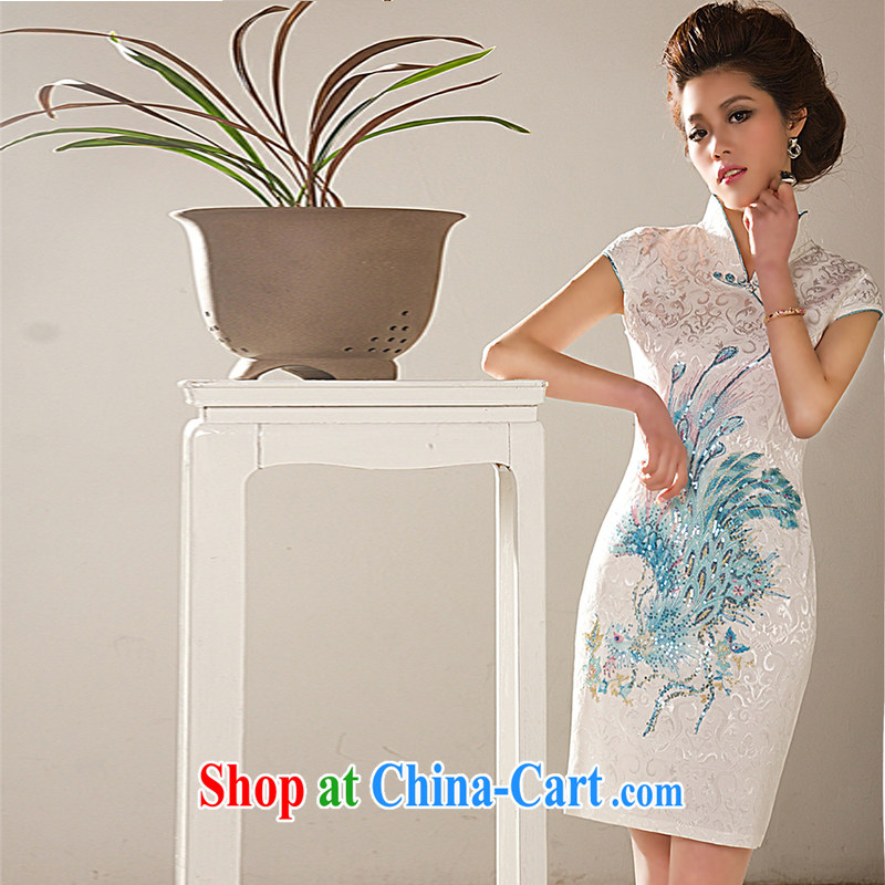 The sheep summer dresses spring 2015 new dress, elegant style dinner dress cheongsam embroidery Phoenix short-sleeve summer blue Phoenix L