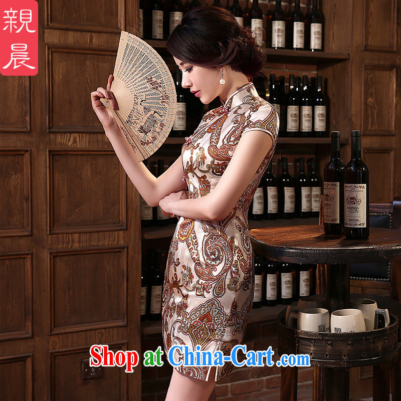 pro-am 2015 new daily retro improved stylish short sauna silk upscale Silk Cheongsam dress dresses short 2 XL