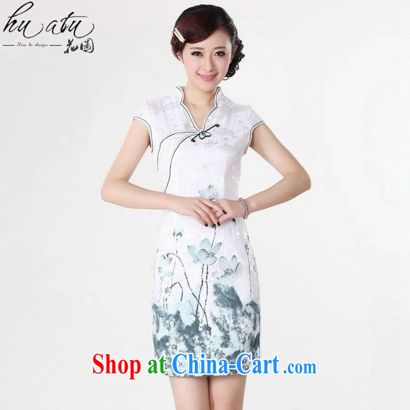 spend the summer new cheongsam Chinese women Chinese improved, for pure cotton hand-painted retro short cheongsam dress such as the color 2 XL