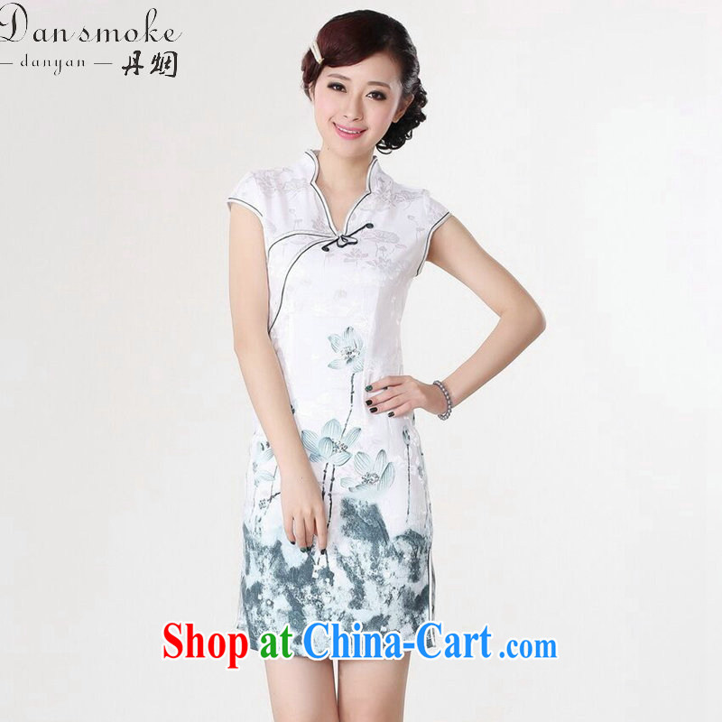 Bin Laden smoke summer new cheongsam Chinese female Chinese improved, for pure cotton hand-painted retro short cheongsam dress such as the color 2 XL