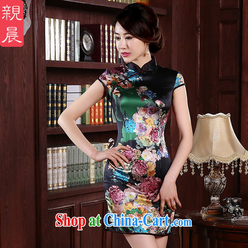 Pro-morning Silk Cheongsam dress 2015 new spring and summer daily retro dos santos improved Silk Cheongsam Fashionable Dress Suit XL