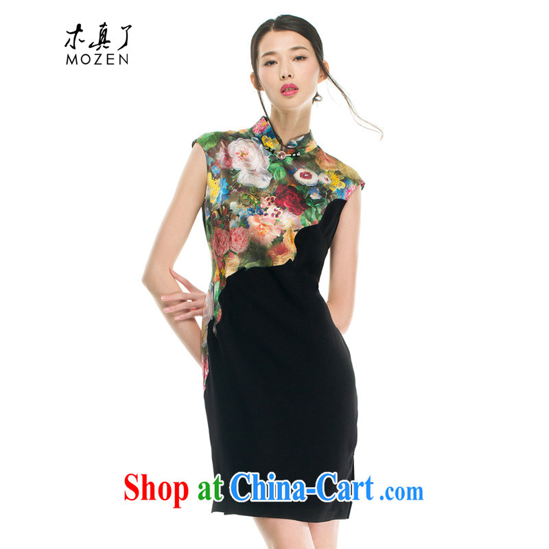 Wood is really the MOZEN 2015 spring and summer new Chinese, for cultivating silk stamp on the embroidery cheongsam 43,086 01 black XXL A _ _