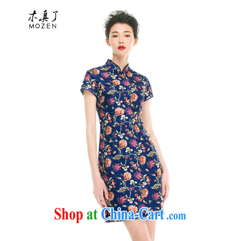 Wood is really the MOZEN 2015 spring and summer new Chinese, for flowers embroidery texture short cheongsam 43,148 10 dark blue XL