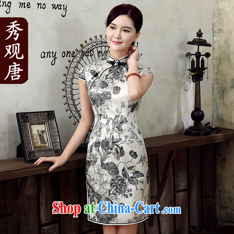 The CYD HO Kwun Tong' summer nights spent summer 2015 new upscale Silk Cheongsam dress retro dress dresses QD 5306 gray and white XXL