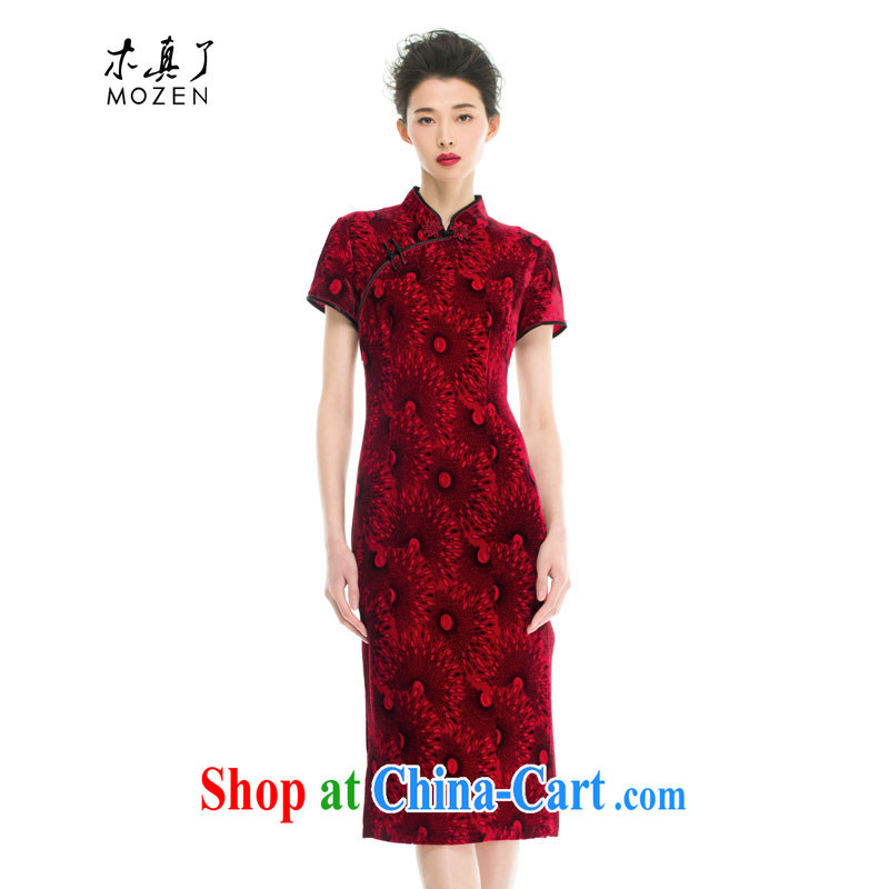 Wood is really the 2015 spring and summer new Chinese beauty Silk Cheongsam dress mom with half sleeve wedding dress 43,201 04 deep red XXL B ( )