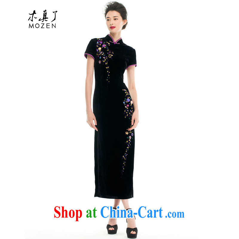Wood is really the 2015 spring and summer new Chinese, warranty for fun tie really wool long cheongsam mom with 43,205 01 black XXL _B_