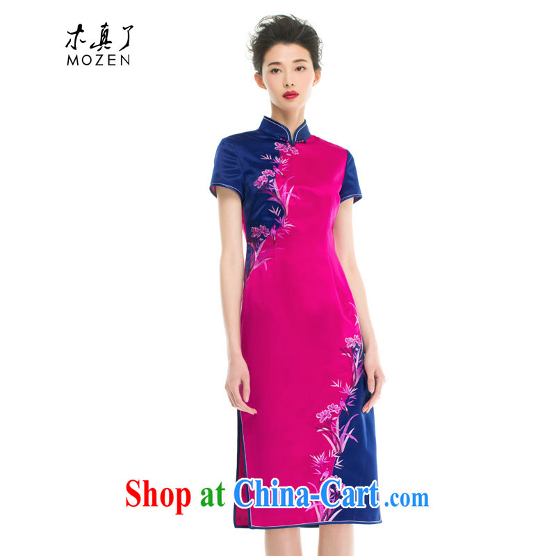 Wood is really the 2015 spring and summer new Chinese, for stitching two-color flower embroidery cheongsam MOM 43,283 18 deep toner M