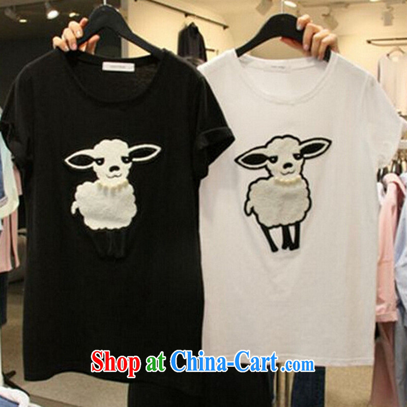 Qin Qing Korea 2015 summer new Korean short-sleeved sheep pattern cotton T-shirt girls 100 ground graphics thin T-shirt white XL