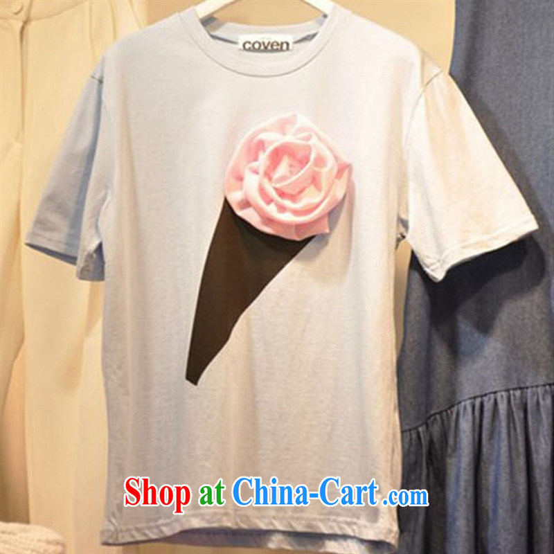 Deloitte Touche Tohmatsu store sunny summer 2015 female Korean three-dimensional roses cotton T shirts girls summer short-sleeve T-shirt the T-shirt picture color XL