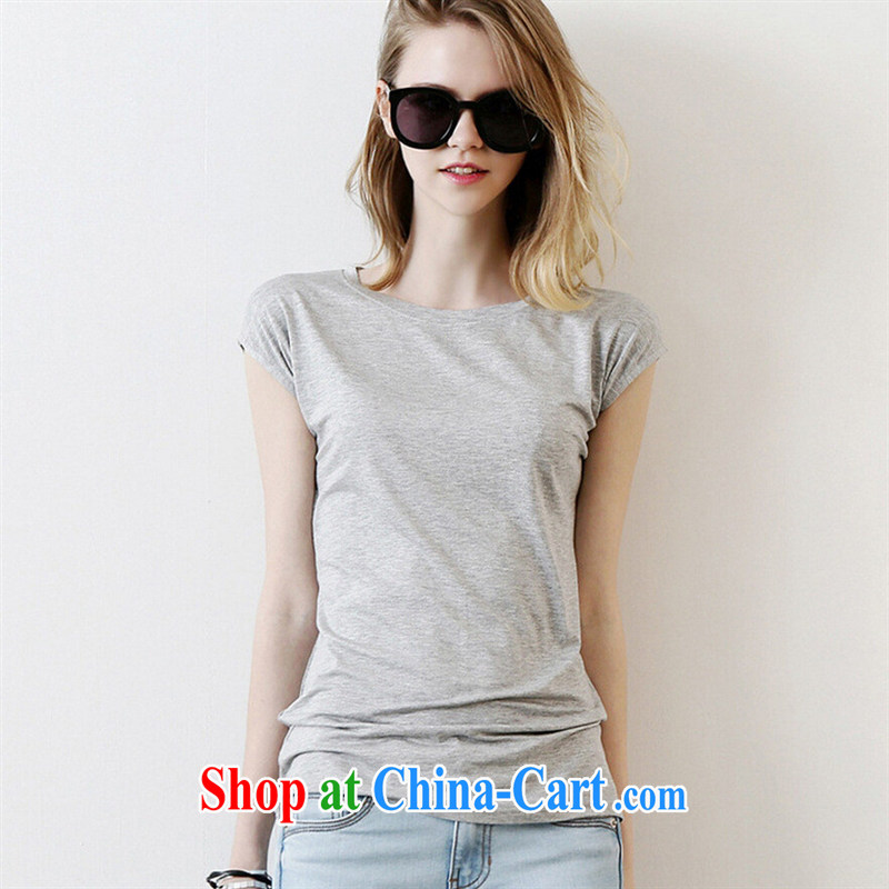 Qin Qing store 2015 Female European site simple solid color personality back exposed round-collar short-sleeve T-shirt, generation, pure cotton T-shirt summer white XL
