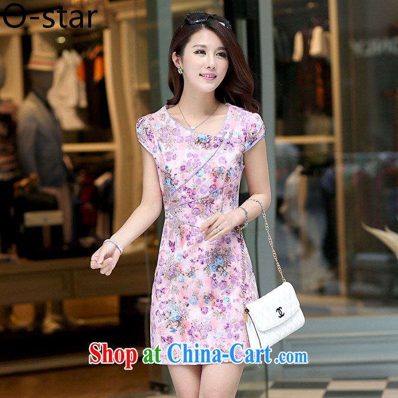 O - Star 2015 spring and summer New Daily Short dresses retro improved cultivation video thin cheongsam dress floral dress-light purple L