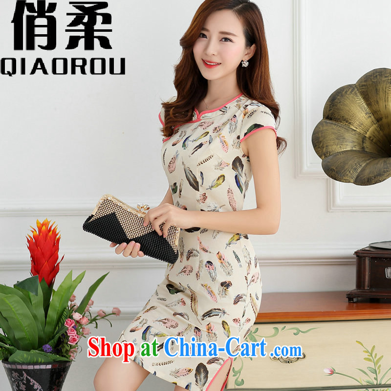 For flexible summer 2015 new retro short-sleeved Sau San stamp duty cheongsam dress summer m bottom feather female m bottom feather XXL