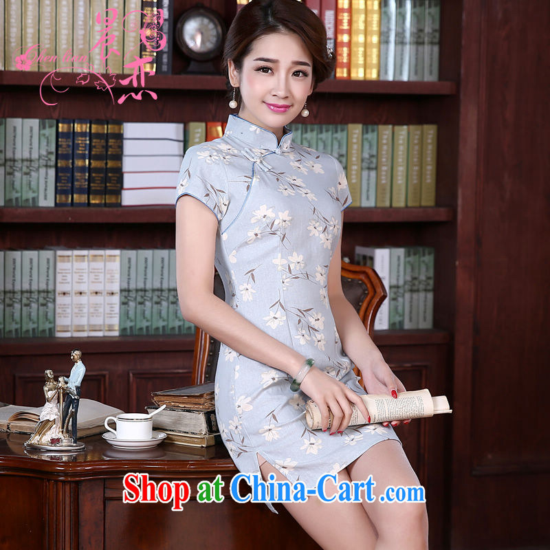 Morning love 2015 summer new stylish improved retro short cheongsam dress Chinese daily cotton the gray-blue gray-blue 155_S