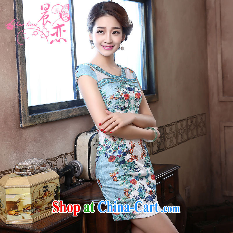 Morning love 2015 summer new improved stylish retro short cheongsam dress everyday dresses Lake Blue video thin light blue XXL