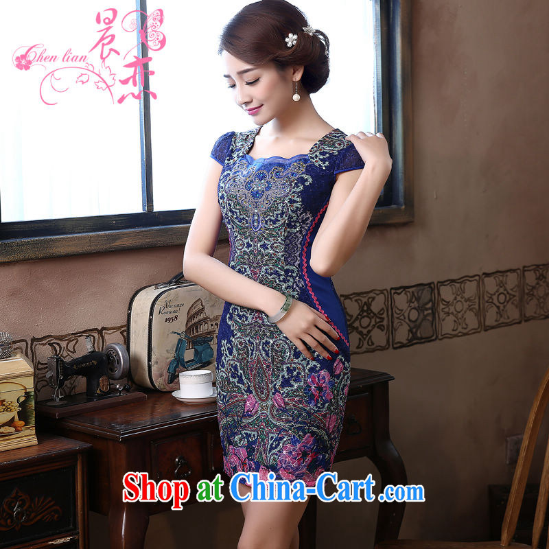 Morning love 2015 summer new improved stylish retro short cheongsam dress everyday dresses dark blue graphics thin blue XXL